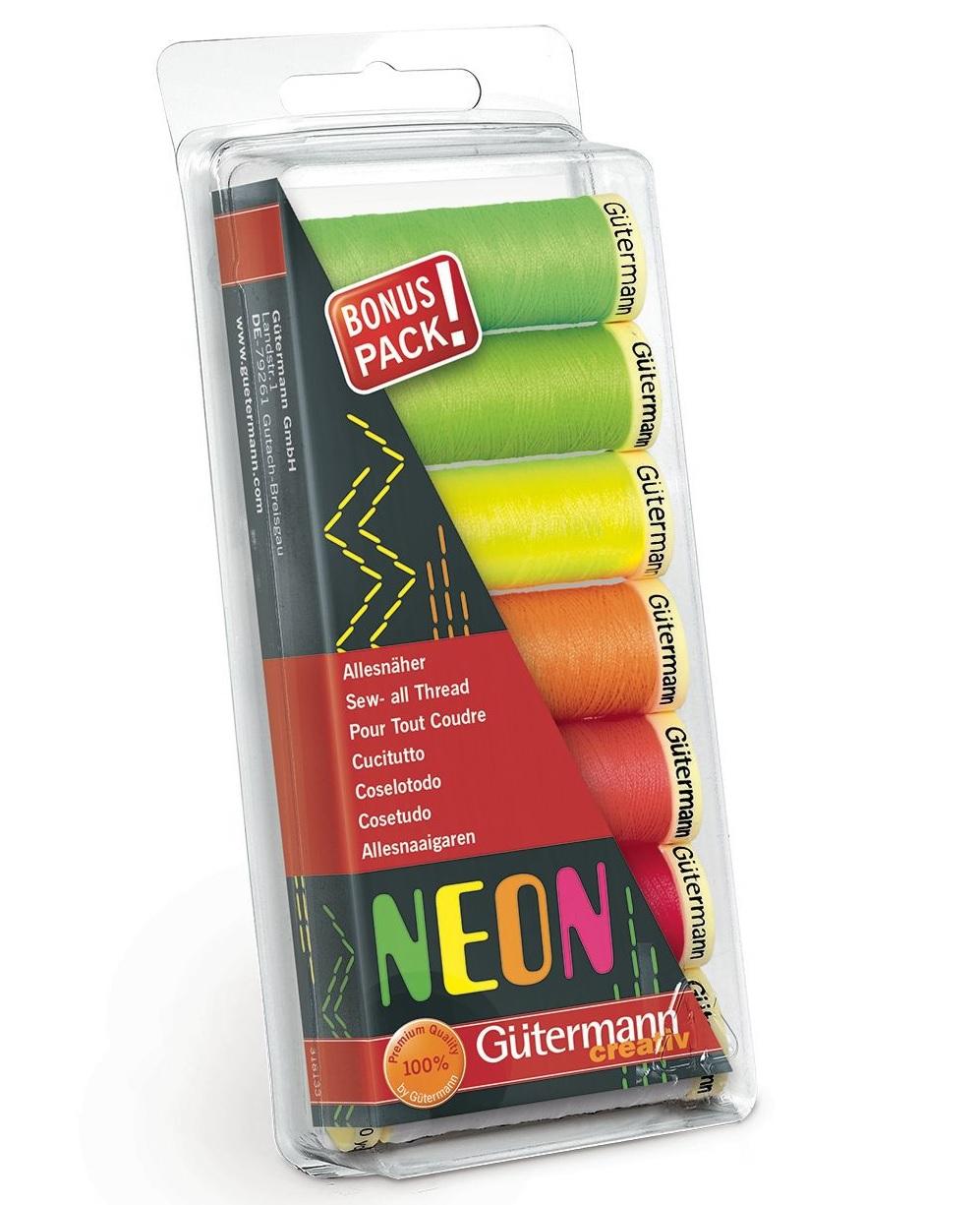 šicí nitě neonové creativ MIX (7barev po 100m)