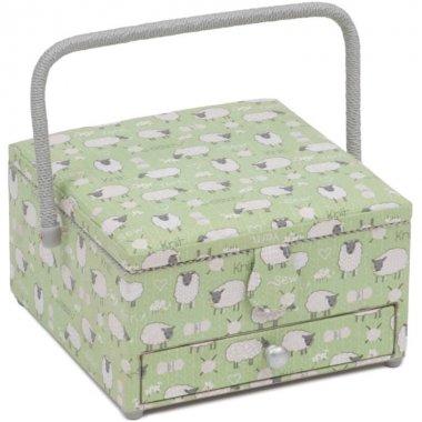 košík na šicí potřeby ovečky 25x25x14,5cm