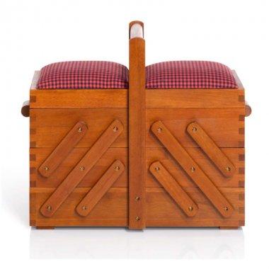 kazeta na šití dřevěná s látkou 36x30x19cm