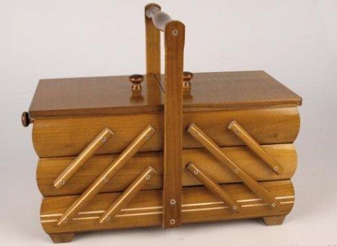 košík na šicí potřeby rozkládací střední medový