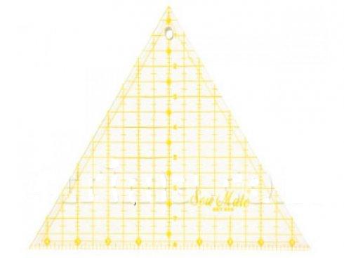 patchworkové pravítko - trojúhelník 9x8 žluté rysky