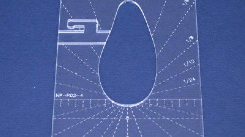 Quiltovací pravítko tvar pero 3 inch NP-P02-4