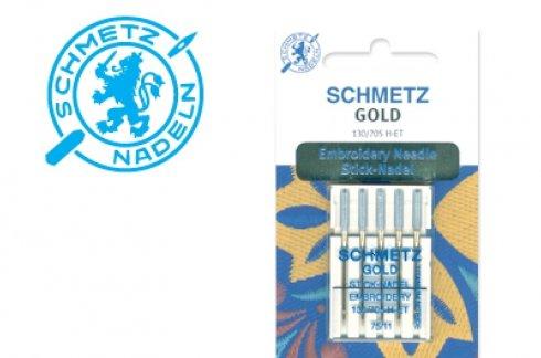 Jehly zlaté vyšívací 130/705 H-ET VMS 75 GOLD EMBROIDERY